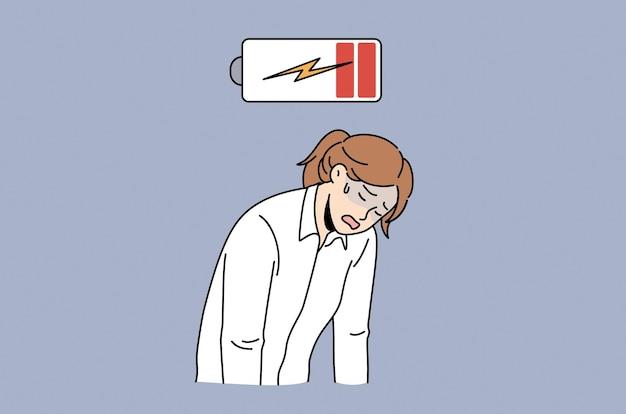 Koncepcja wyczerpania i niskiej energii. młoda smutna, przygnębiona, zmęczona kobieta, pracownik biurowy stojący z rękami w dół, czujący się całkowicie wyczerpany ilustracją wektorową niskiego poziomu baterii