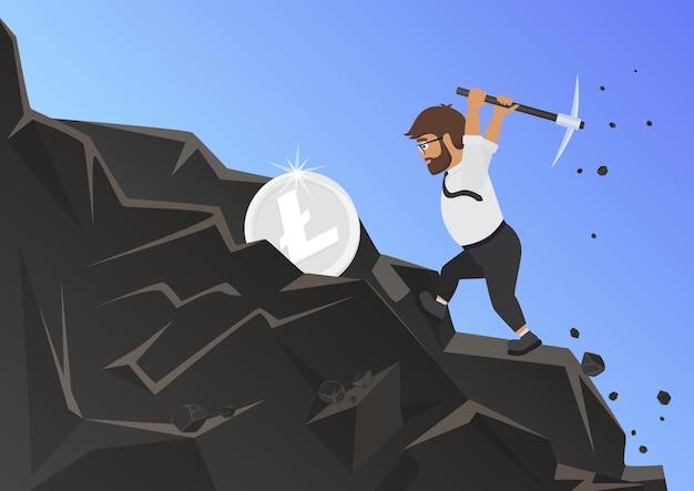 Koncepcja wydobycia litecoin z ilustracja biznesmen górnik