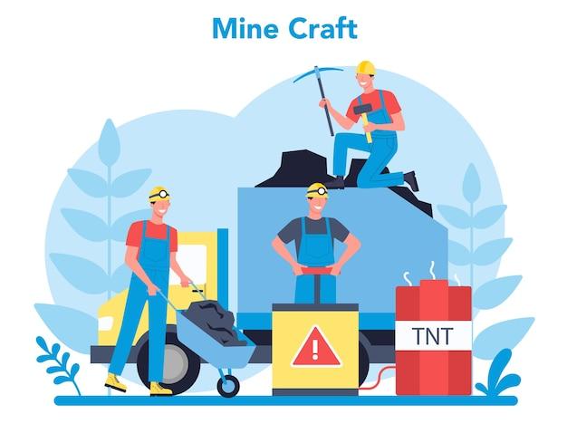 Koncepcja wydobycia węgla lub minerałów. pracownik w mundurze i hełmie z kilofem, młotem pneumatycznym i taczką pracujący pod ziemią. zawód branży wydobywczej. ilustracja na białym tle płaski wektor