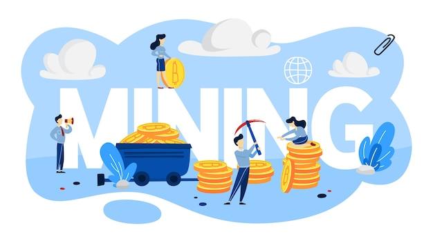 Koncepcja wydobywania kryptowaluty. ludzie pracujący ze stosami bitcoinów dookoła. idea blockchain i innowacji cyfrowych. ilustracja
