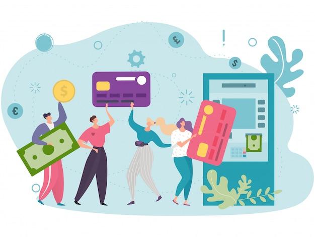 Koncepcja wygodnego korzystania z plastikowych kart klientów korzystających z bankomatu, w pobliżu którego w kolejce czekają kobiety i mężczyźni.