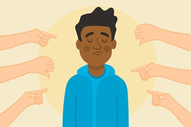 Koncepcja wykluczenia społecznego smutny czarny człowiek