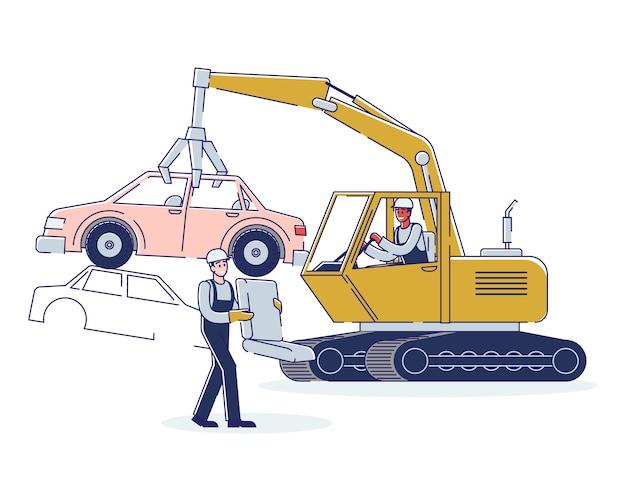 Koncepcja wykorzystania pojazdów. ludzie pracują na złomowisku, sortując stosy uszkodzonych samochodów.