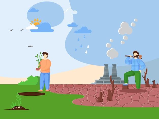 Koncepcja wylesiania. rąbanie lasu, niszczenie drewna. niebezpieczeństwo dla ekologii i zanieczyszczenia powietrza.