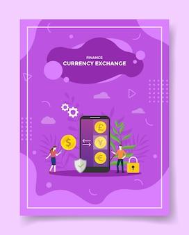 Koncepcja wymiany walut finansów mężczyźni kobiety wokół monety dolara euro jen funt szterling na ekranie smartfona dla szablonu