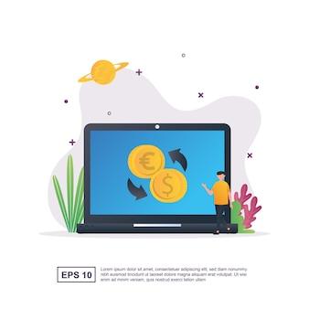 Koncepcja wymiany walut z pieniędzmi na ekranie