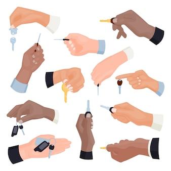 Koncepcja wynajmu lub sprzedaży wektor w stylu płaski ręka trzyma kluczyk. apartament bezpieczeństwa dla ludzi. usługa mieszkaniowa odblokowuje znak otwartej firmy.
