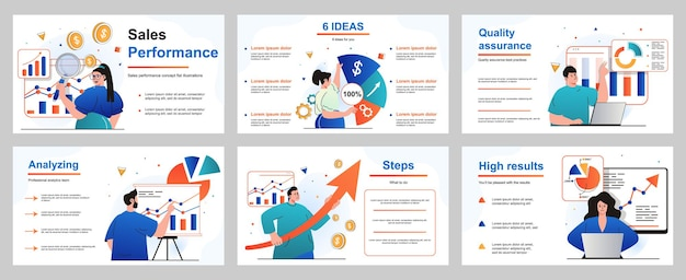 Koncepcja wyników sprzedaży dla szablonu slajdu prezentacji ludzie analizują dane finansowe firmy