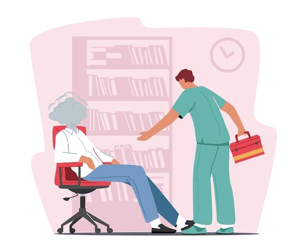 Koncepcja wypalenia zawodowego i emocjonalnego. doktor w szacie próbuje pomóc biznesmenowi za pomocą steam zamiast głowy