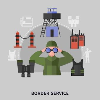 Koncepcja wyposażenia służby straży granicznej z człowiekiem szukającym dokładnej lornetki na szarym tle
