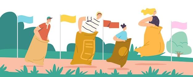Koncepcja wyścigu worek z szczęśliwą rodziną znaków matka, ojciec i dzieci skaczące w workach. letnie zawody plenerowe, wesoła gra skacząca w parku lub na stadionie. ilustracja wektorowa kreskówka ludzie