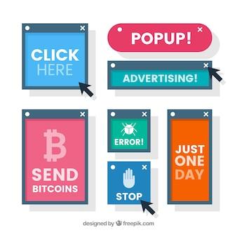 Koncepcja wyskakującego bloku reklamowego