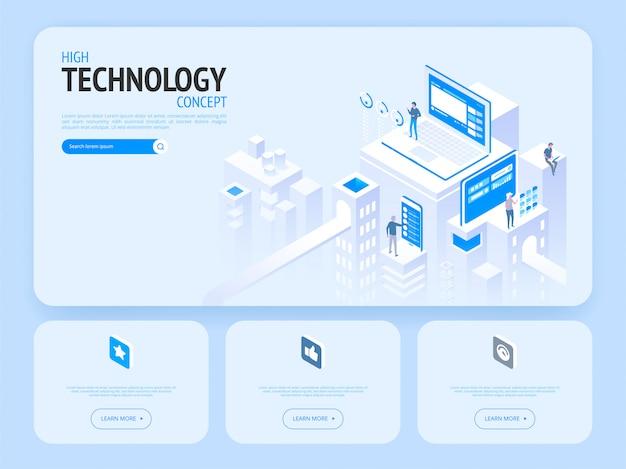 Koncepcja wysokiej technologii. szablon strony docelowej.