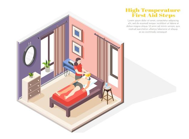 Koncepcja wysokiej temperatury z ilustracją izometryczną symboli pierwszej pomocy