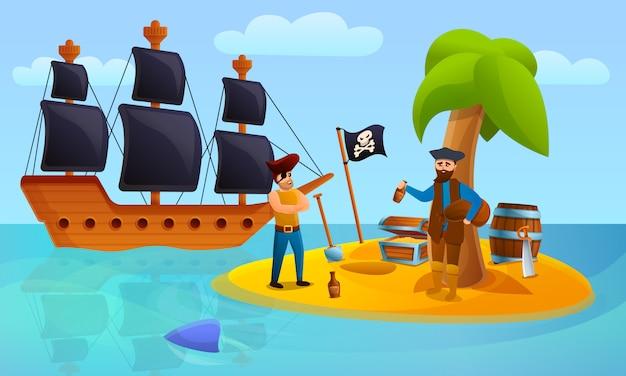Koncepcja wyspy piratów, stylu cartoon