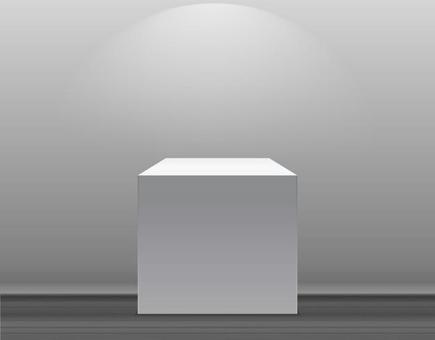 Koncepcja wystawy stoisko z białym pustym pudełkiem z oświetleniem na szarym tle