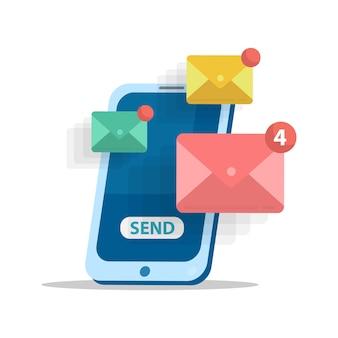 Koncepcja wysyłania wiadomości e-mail. reklama w internecie.