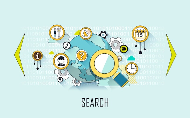 Koncepcja wyszukiwania: szkło powiększające i elementy internetowe w stylu linii