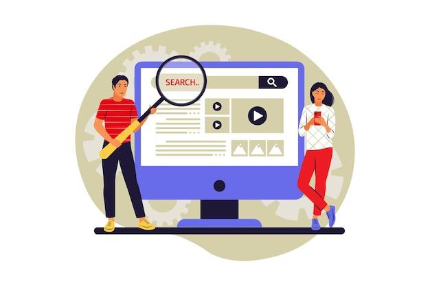 Koncepcja wyszukiwania w sieci web. ludzie szukający informacji. ilustracja wektorowa. mieszkanie.