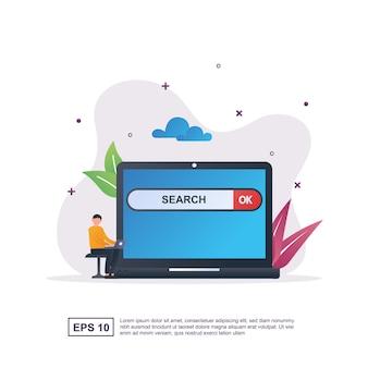 Koncepcja wyszukiwania z osobami posiadającymi laptopa.