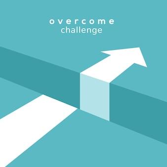 Koncepcja wyzwanie wektor. przeszkoda strzałka przepaść dla koncepcji biznesowej cucess.