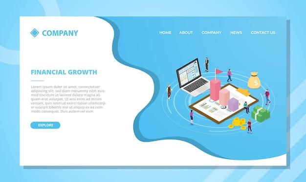 Koncepcja wzrostu finansowego dla szablonu strony internetowej lub projektu strony głównej lądowania z ilustracji wektorowych w stylu izometrycznym