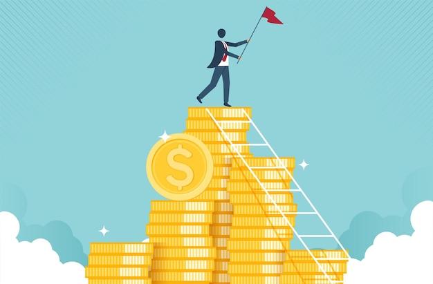 Koncepcja wzrostu finansowego z koncepcją złotej monety kolekcji pieniężnej lub strategii zysku