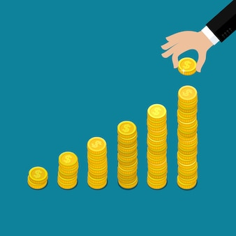 Koncepcja wzrostu finansowego ze stosami złotych monet. płaska konstrukcja,.