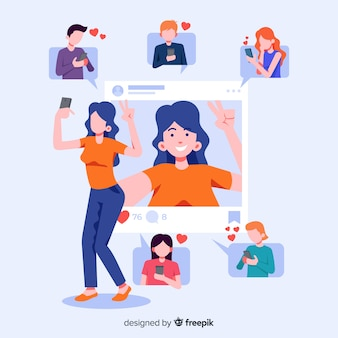 Koncepcja z selfie do aplikacji społecznościowych