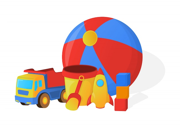 Koncepcja zabawek dla dzieci. styl kreskówki. ilustracja wektorowa.