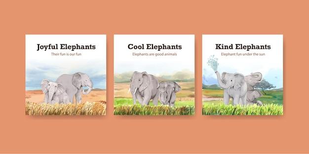 Koncepcja zabawy słonia, ilustracja w stylu akwareli