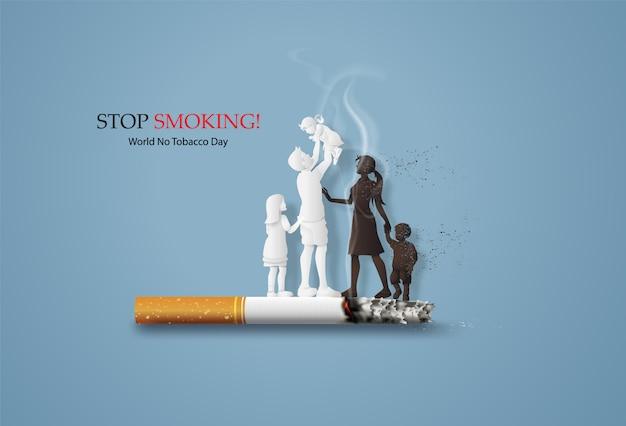 Koncepcja zakazu palenia i światowy dzień bez tytoniu z rodziną.