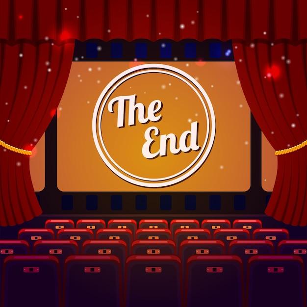 Koncepcja zakończenia pokazu. sala kinowo-teatralna z siedzeniami, kurtyną i the end na ekranie.