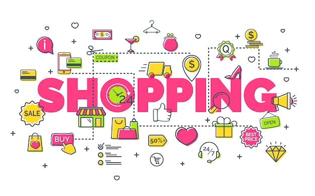 Koncepcja zakupów on-line z ikonami nowoczesnych cienkich linii. koncepcja kreatywnego pomysłu