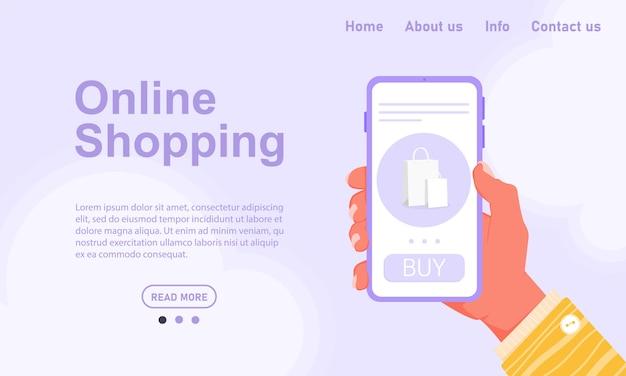 Koncepcja zakupów online bez wychodzenia z domu. zamów jedzenie i ubrania ze smartfona. fioletowy telefon w dłoni z żółtym rękawem. szablon zapasowy do projektowania stron internetowych i aplikacji.