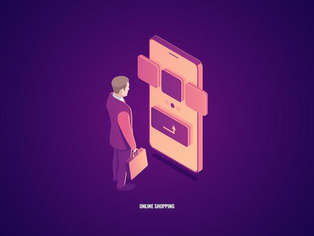 Koncepcja zakupów online, człowiek zabłąkany ze smartfonem, klient wybiera produkt