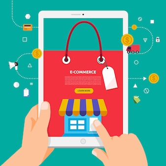Koncepcja zakupów online izometryczne ilustracja dłoni z torbą na zakupy ze smartfona lub tabletu.