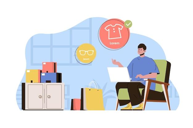 Koncepcja zakupów online klient dokonuje zakupów za pomocą laptopa