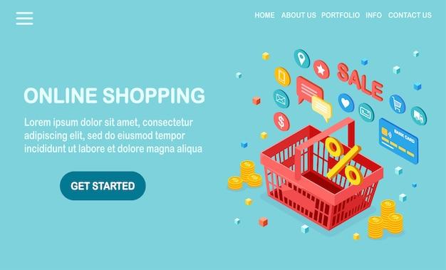 Koncepcja zakupów online. kup w sklepie detalicznym przez internet. wyprzedaż z rabatem. izometryczny kosz z pieniędzmi, kartą kredytową, recenzją klienta, opiniami, ikonami sklepu.