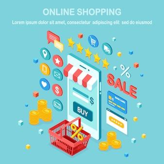 Koncepcja zakupów online. kup w sklepie detalicznym przez internet. wyprzedaż z rabatem. izometryczny telefon komórkowy 3d, smartfon z pieniędzmi, karta kredytowa, recenzja klienta, opinia, torba, kosz. projekt banera