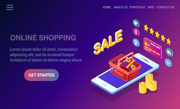 Koncepcja zakupów online. kup w sklepie detalicznym przez internet. wyprzedaż z rabatem. izometryczny telefon z koszykiem