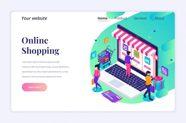 Koncepcja zakupów online, ludzie kupujący produkty w izometrycznym szablonie strony docelowej sklepu internetowego
