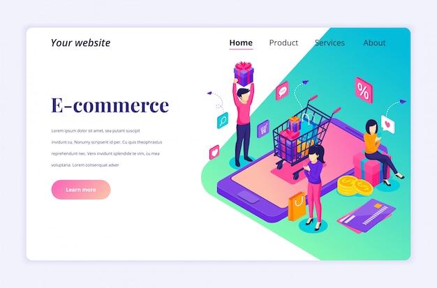 Koncepcja zakupów online, ludzie kupujący produkty w sklepie internetowym. nowoczesny płaski izometryczny dla szablonu strony docelowej