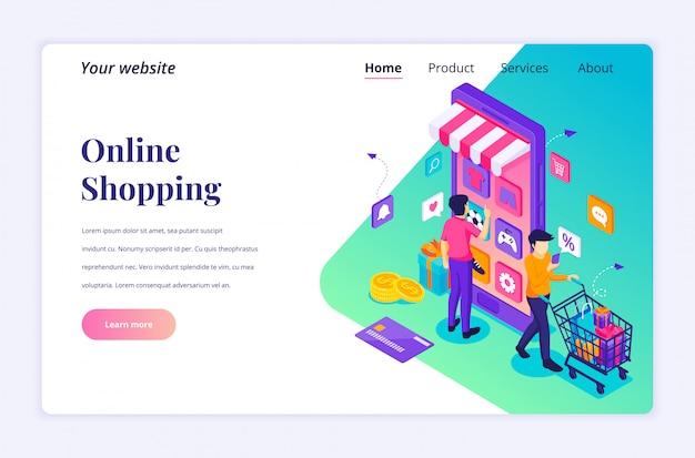 Koncepcja zakupów online, ludzie kupujący produkty w sklepie z aplikacjami mobilnymi. nowoczesny płaski izometryczny dla szablonu strony docelowej