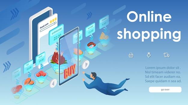 Koncepcja zakupów online małe kliknięcia na smartfonie