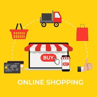 Koncepcja zakupów online. nowoczesna koncepcja banerów internetowych, stron internetowych, infografik, materiałów drukowanych. ilustracja
