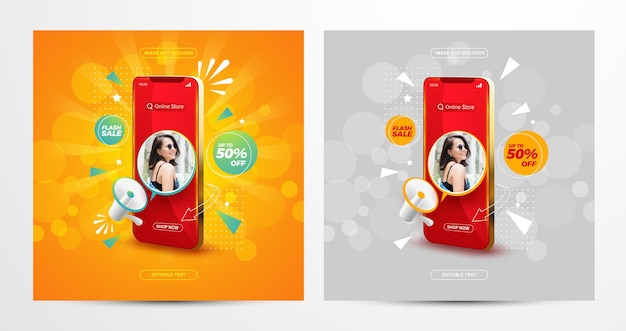 Koncepcja zakupów online sprzedaży flash na szablonie postu w mediach społecznościowych
