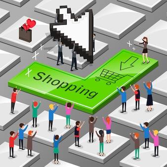Koncepcja zakupów online w 3d izometrycznej płaskiej konstrukcji