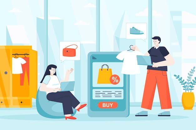 Koncepcja zakupów online w płaskiej konstrukcji ilustracja postaci osób na stronę docelową