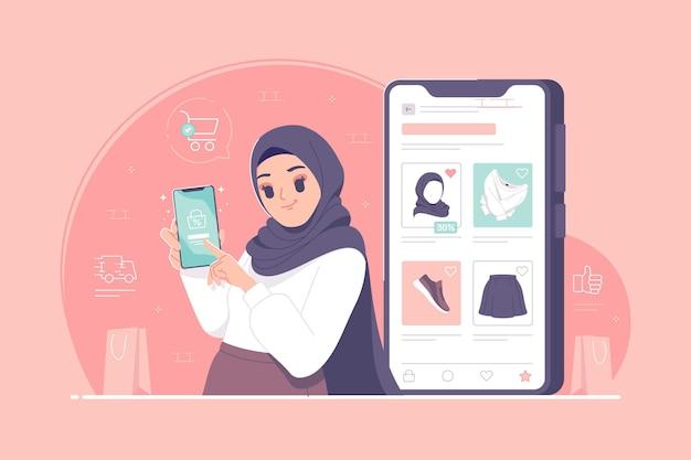 Koncepcja zakupów online z islamską postacią dziewczyny hidżabu